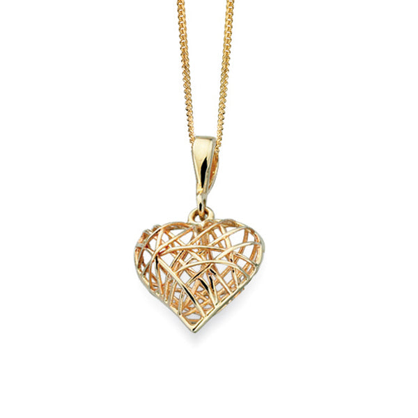 9ct Gold Caged Heart Pendant On Chain