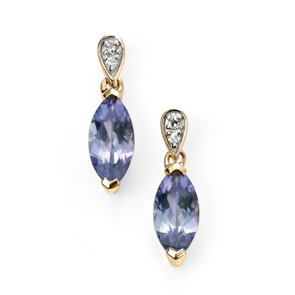 9ct Gold Diamond & Tanzanite Earrings