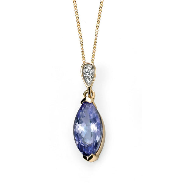 9ct Gold Tanzanite & Diamond Necklace