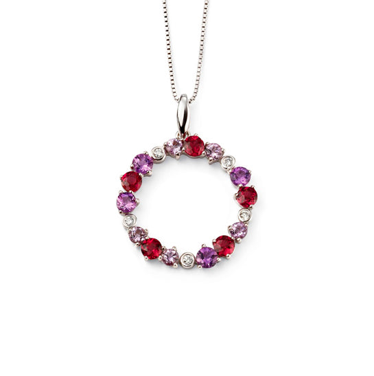 9ct White Gold Multi Gem Stone Necklace