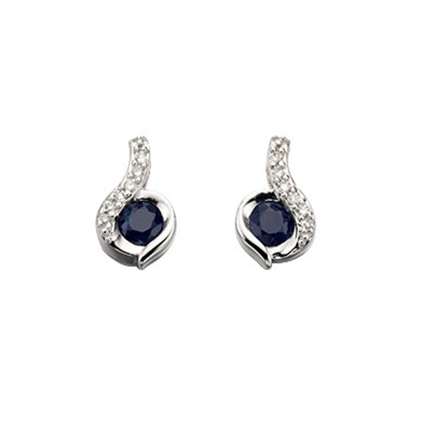 9ct White Sapphire & Diamond Earrings