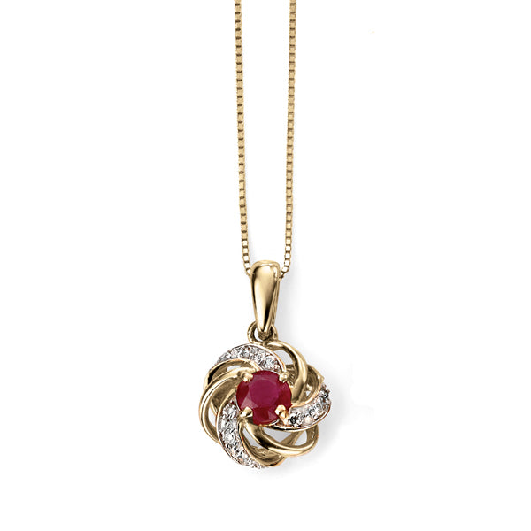 9ct Gold Ruby & Diamond Necklace