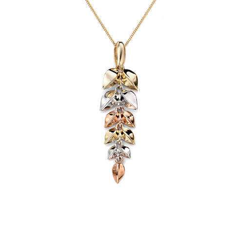 9ct  Tri- colour Leaf Necklace