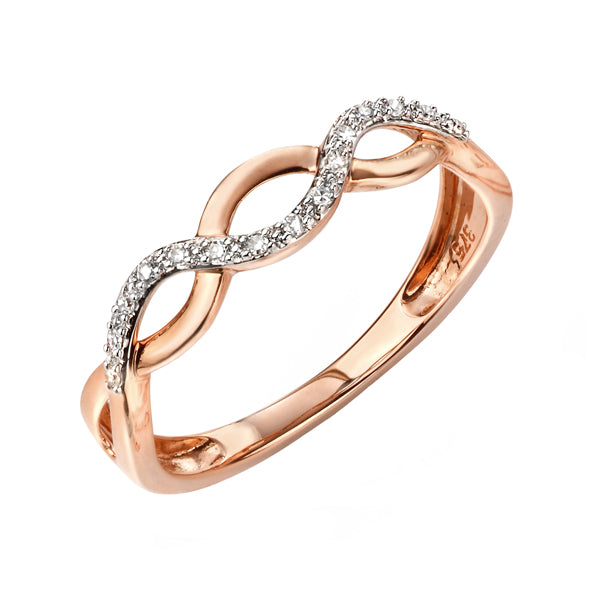 9ct Rose Gold Diamond Twist Ring