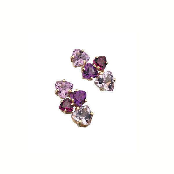 9ct Gold Amethyst & Garnet Stud Earrings