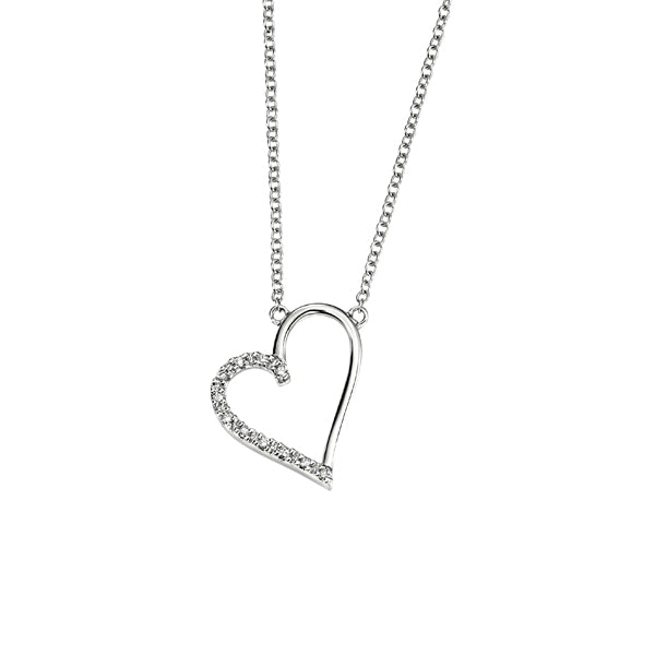 9ct Diamond Set Heart Pendant & Chain