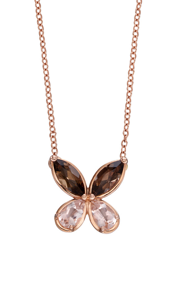9ct Rose Butterfly Necklace