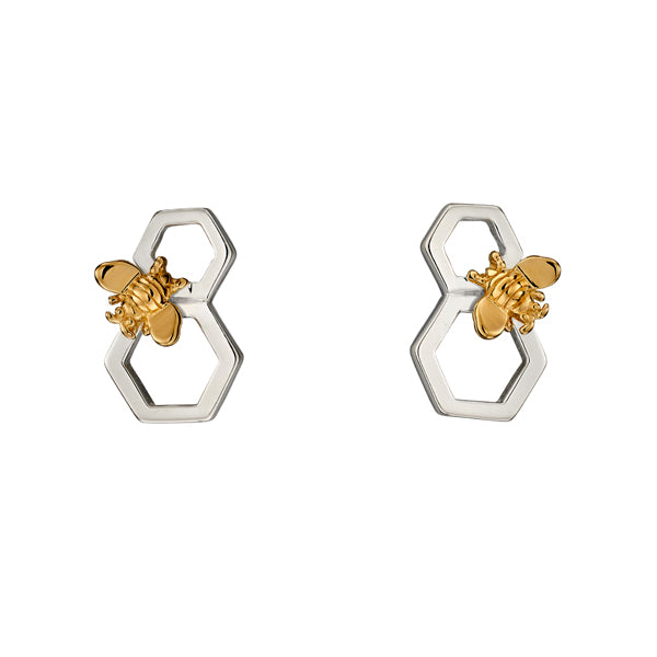 Silver Bee & Honeycomb Earrings
