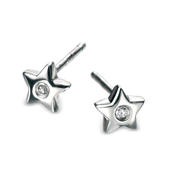 Diamond Set Star Stud Earrings