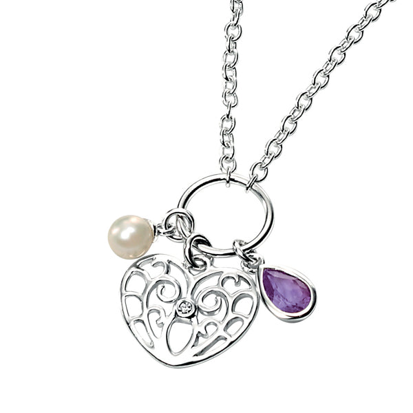 Diamond Set Heart  Pearl & Amethyst Necklace