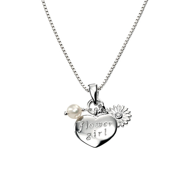 Diamond Set Flower Girl Pendant and Chain