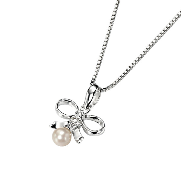 Diamond Set  Pearl & Bow Pendant & Chain