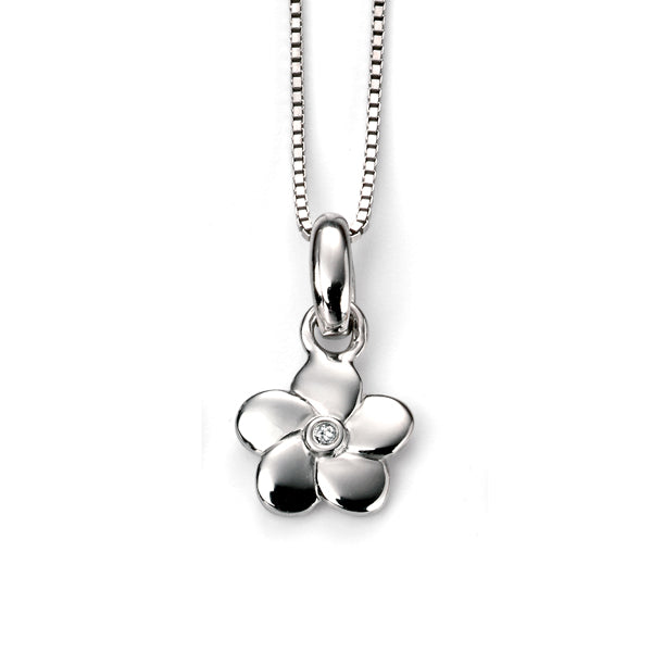 Diamond Flower Pendant & Chain