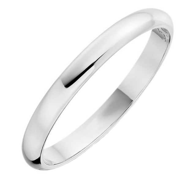 18ct White 'D' Shape Wedding Ring