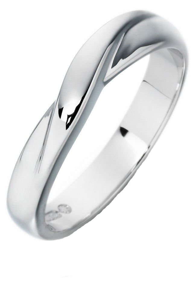 18ct White Gold Shaped Wedding Ring