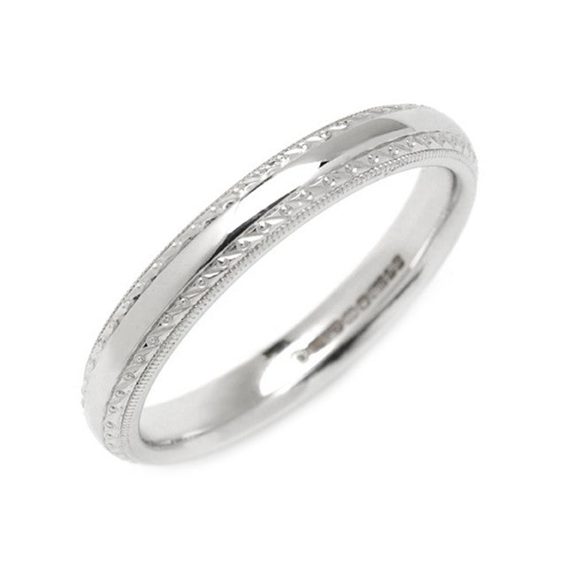 18ct White Gold Engraved Wedding Ring