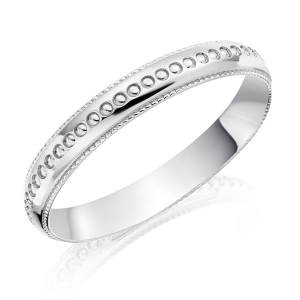 18ct White Gold Patterned Wedding Ring