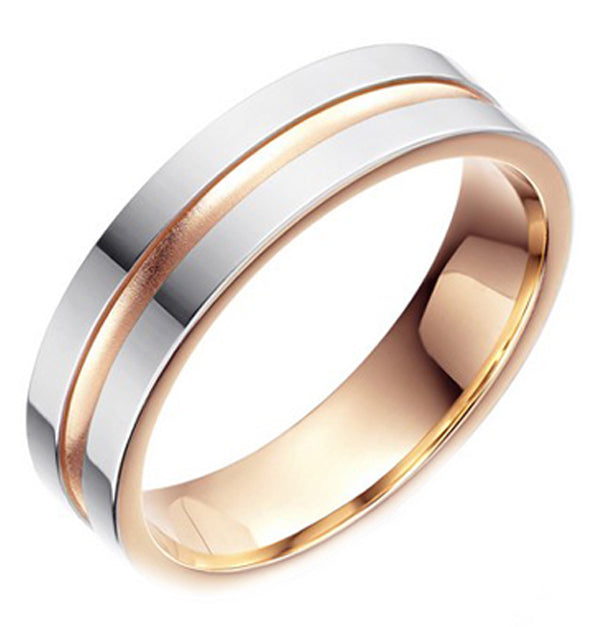 Palladium & 9ct Rose Gold Wedding Ring