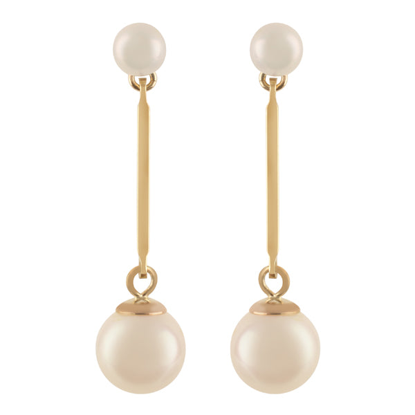 9ct Gold Cultured Pearl Bar Drop Earrings