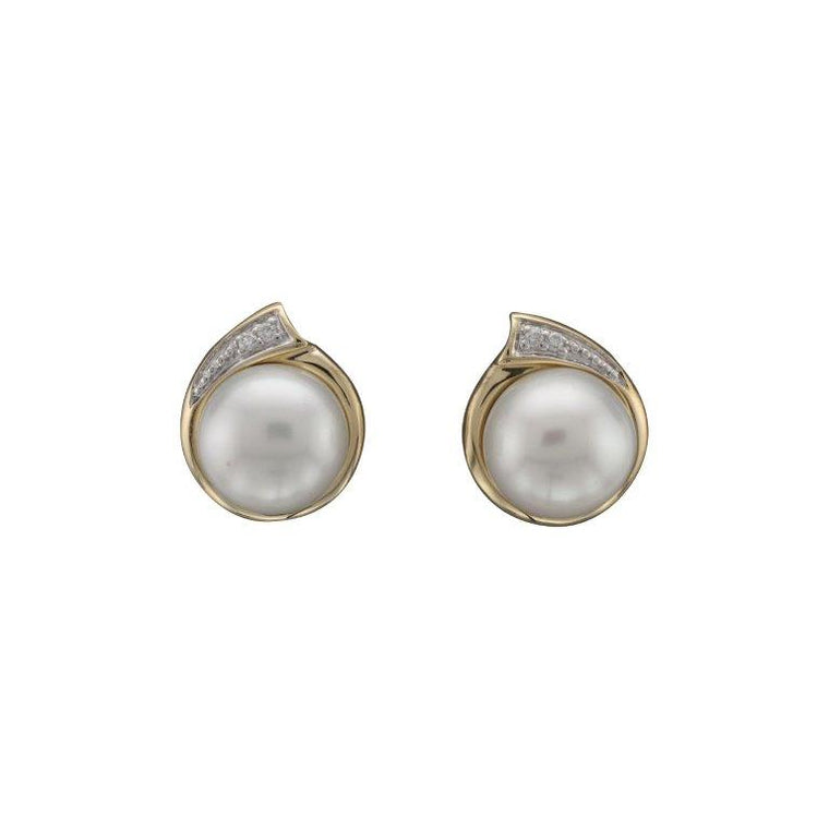 9ct Fresh Water Pearl & Diamond Earrings