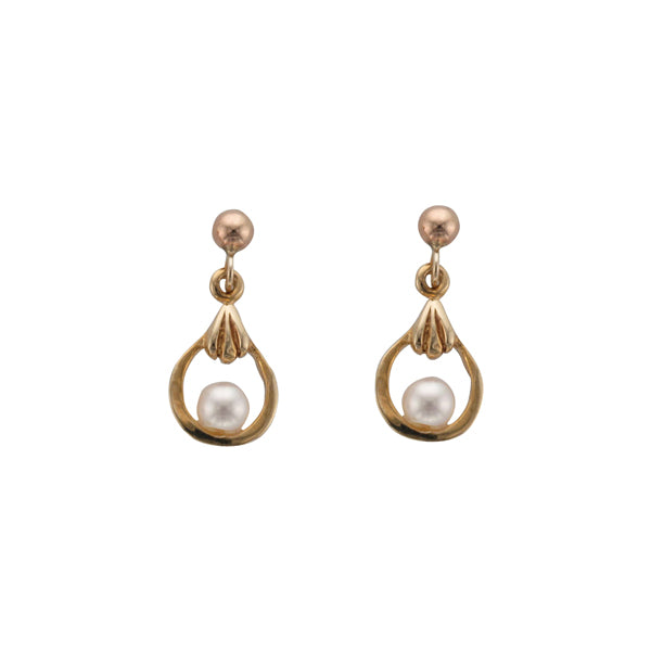 9ct Gold Cultured Pearl Drop Earrings