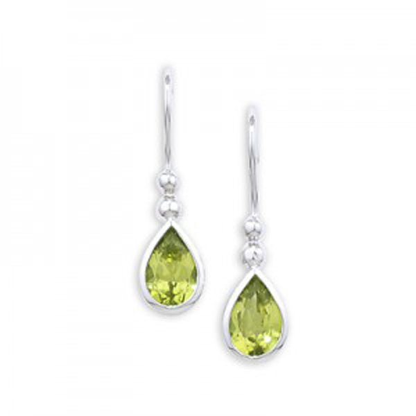 9ct White Gold Peridot Drop Earrings