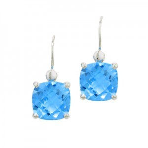 9ct White Gold Blue Topaz Earrings.