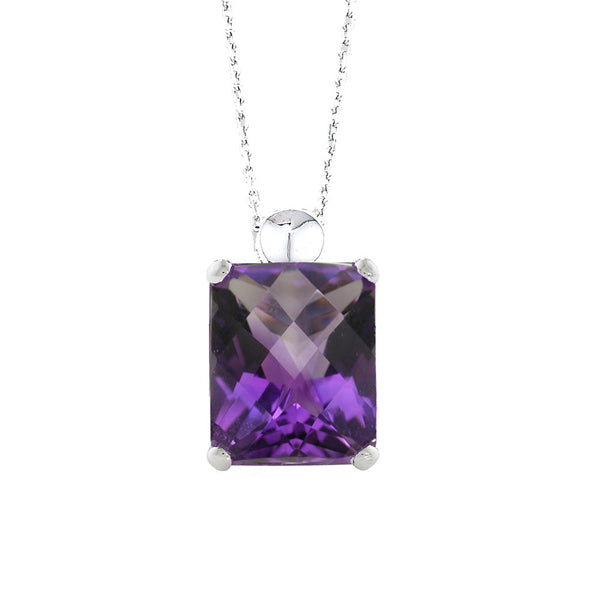 9ct White Gold Amethyst Necklace.