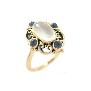 9ct Gold Moonstone & Sapphire Ring