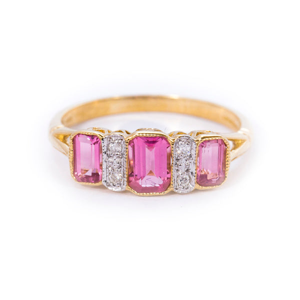 9ct Pink Tourmaline & Diamond Ring