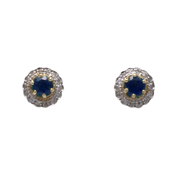 9ct Sapphire & Diamond Earrings