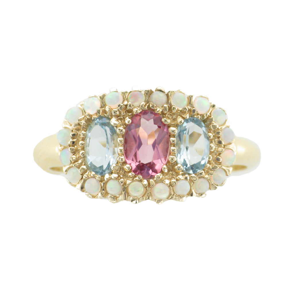 9ct Pink Topaz, Aquamarine & Opal Ring