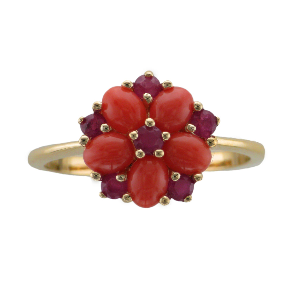 9ct Gold Coral & Ruby Ring