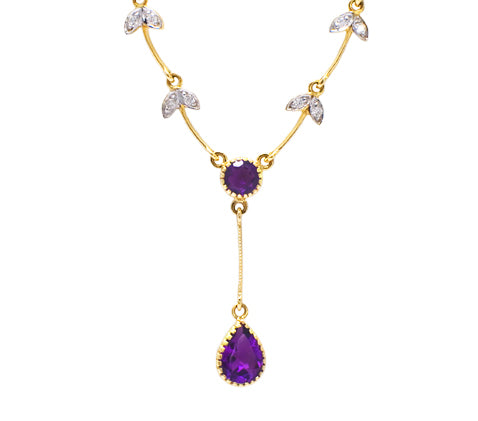 9ct Amethyst & Diamond Necklace