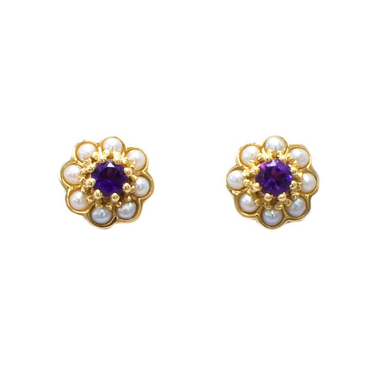 9ct Gold Amethyst & Pearl Earrings