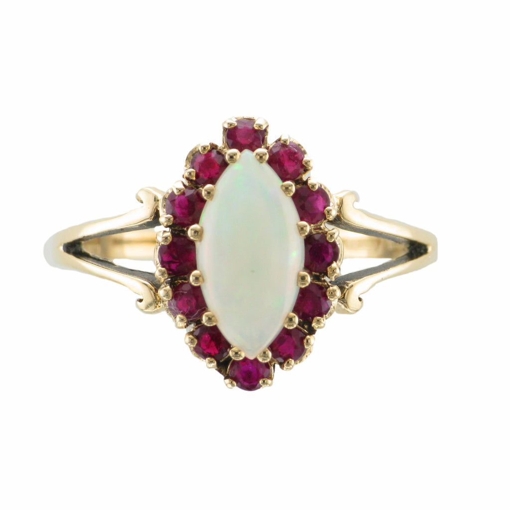 9ct Gold Opal & Ruby Cluster Ring
