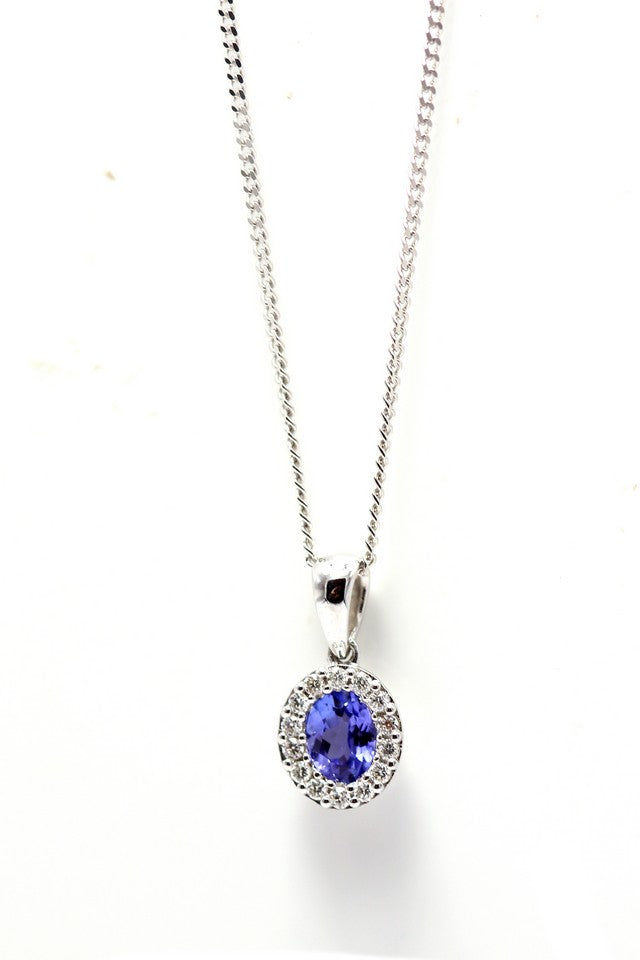 18ct White Gold Tanzanite & Diamond Necklace