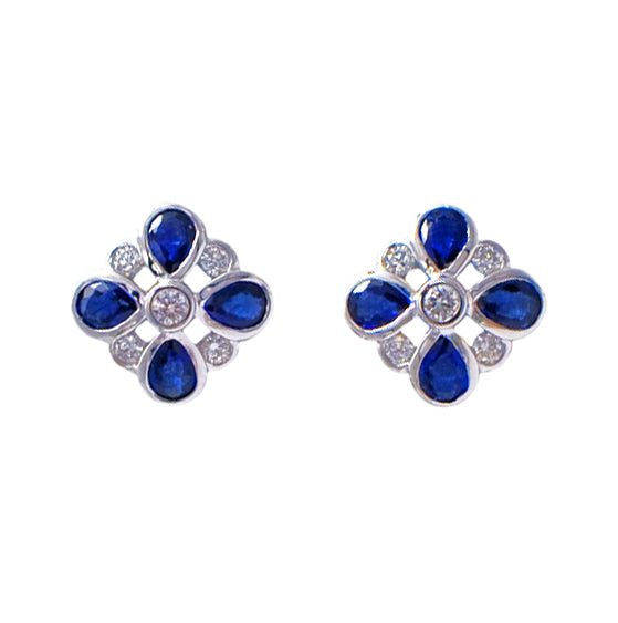 18ct White Gold Sapphire & Diamond Earrings