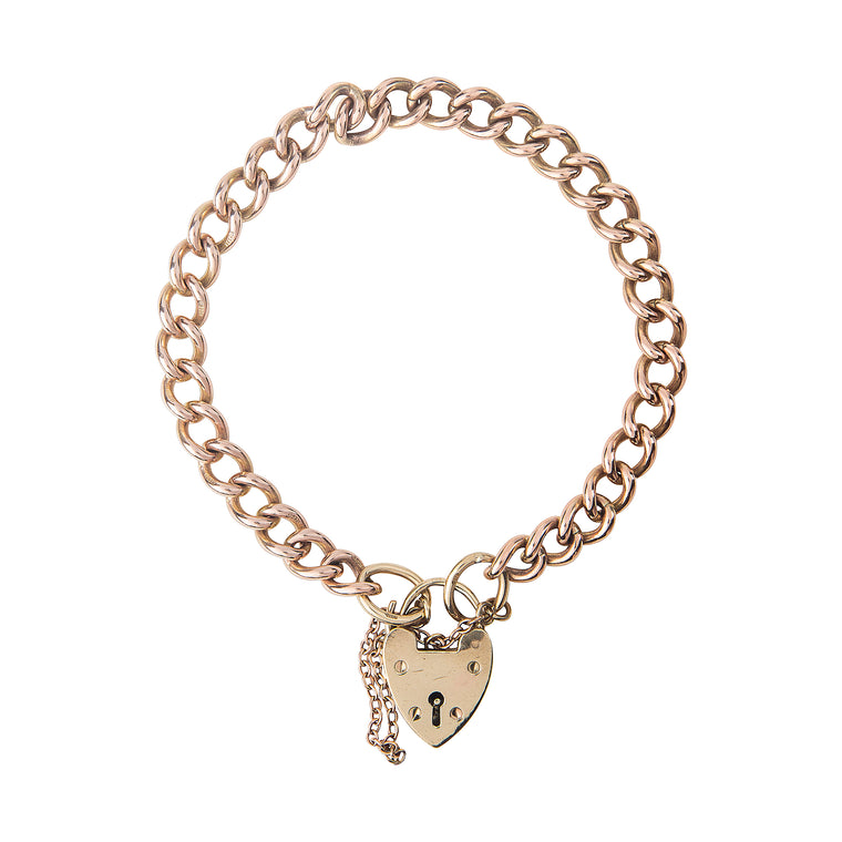 Vintage 9ct Curb Bracelet with Padlock