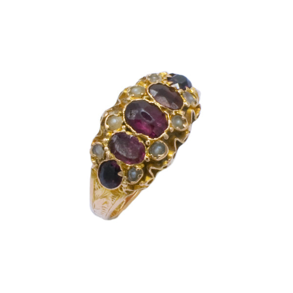 9ct Gold Garnet & Seed Pearl Ring