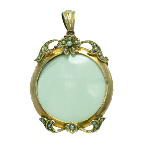 Vintage 9ct Gold Pearl Photo Locket