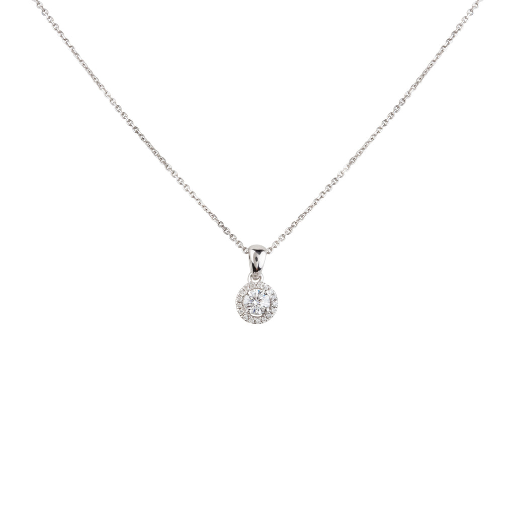 18ct Diamond Halo Necklace