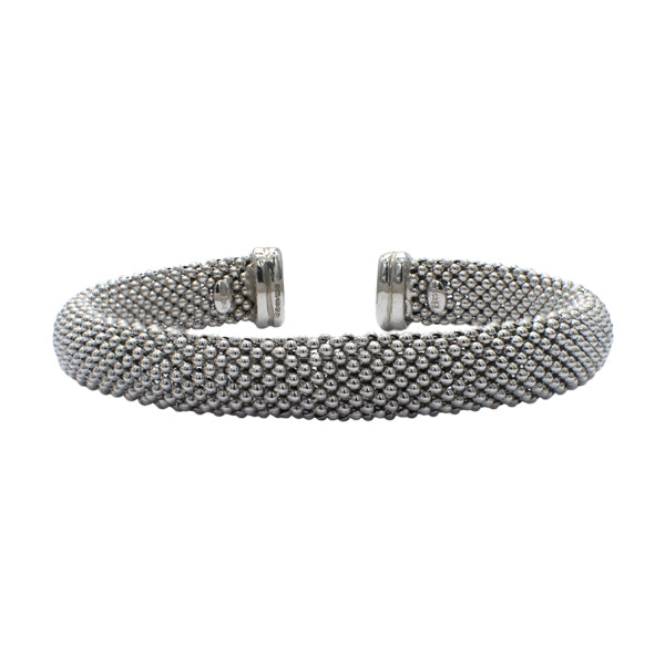 Sterling Silver Beaded Torque Bangle