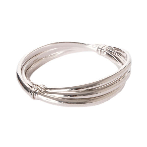Silver Three Row Bangle