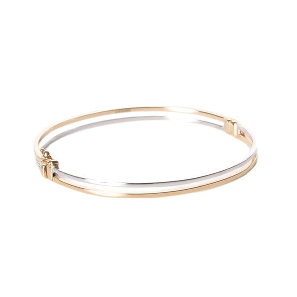 9ct White & Yellow Gold Bangle
