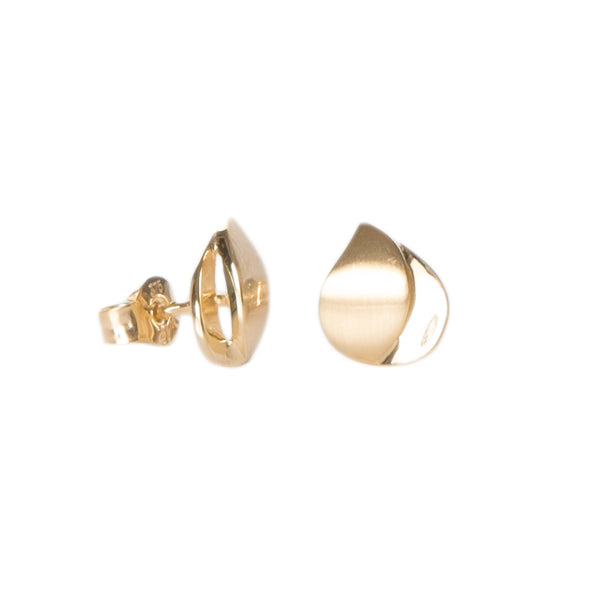 9ct Gold Oval Satin Stud Earrings