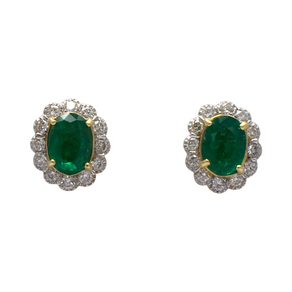 Emerald & Diamond Cluster Earrings