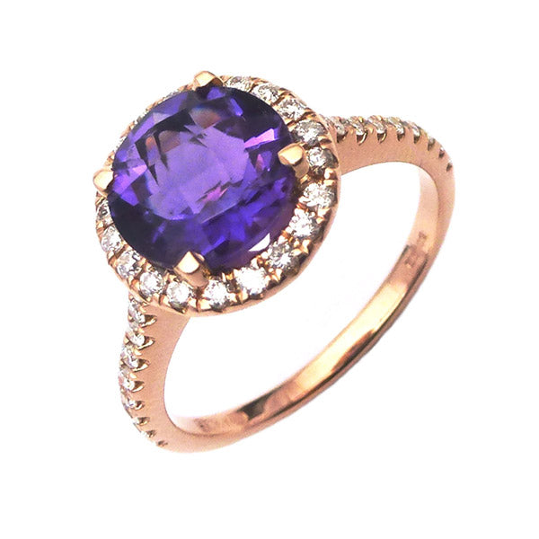 18ct Rose Gold Amethyst & Diamond Ring