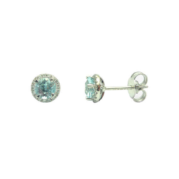 9ct Blue Topaz & Diamond Stud Earrings