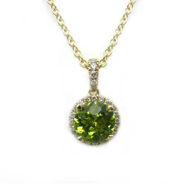 9ct Gold Peridot & Diamond Necklace